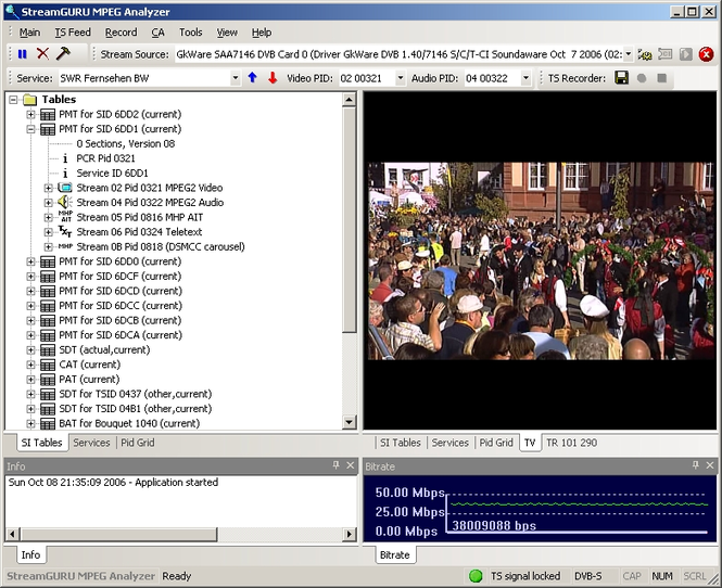 StreamGuru MPEG & DVB Analyzer Screenshot 1