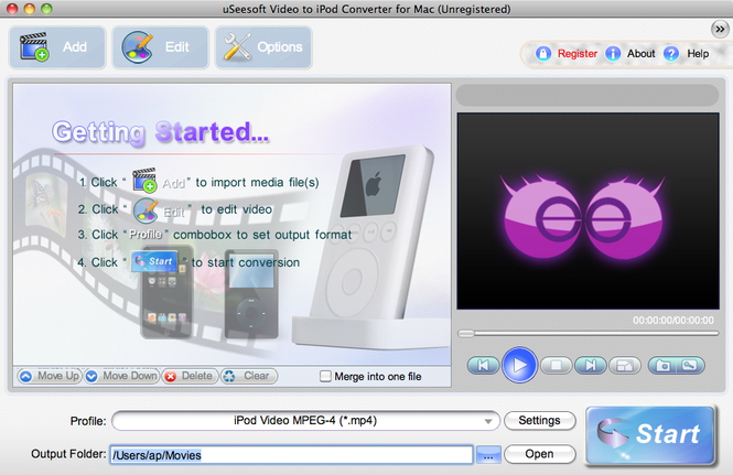 uSeesoft Video to iPod Converter for Mac Screenshot