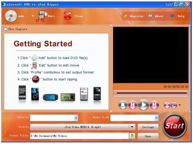 uSeesoft DVD to iPod Ripper Screenshot 2