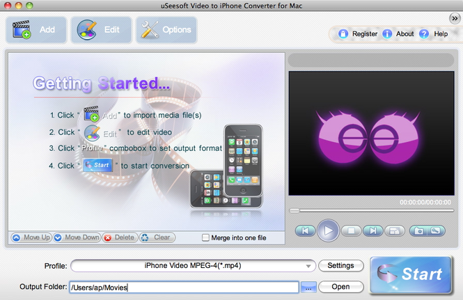 uSeesoft Video to iPhone Converter for Mac Screenshot