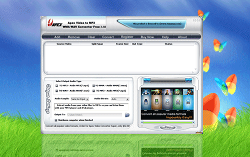 Apex Video to MP3 WMA WAV Converter Free Screenshot 1