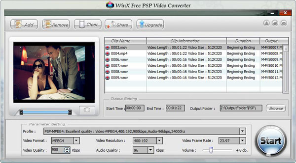 WinX Free PSP Video Converter Screenshot