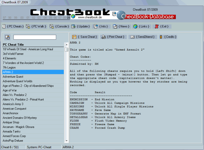 CheatBook Issue 07/2009 Screenshot