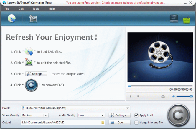 Leawo Free DVD to AVI Converter Screenshot