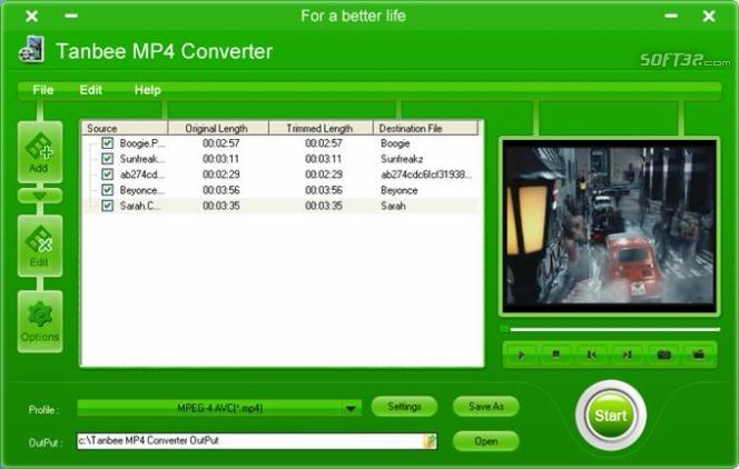 Tanbee MP4 Video Converter Screenshot