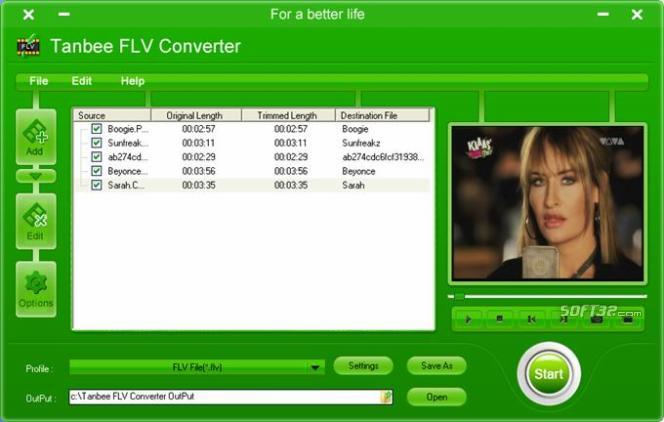 Tanbee Video to FLV Converter Screenshot
