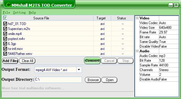 MMshall M2TS TOD Converter Screenshot