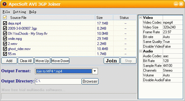 ApecSoft AVI 3GP Joiner Screenshot
