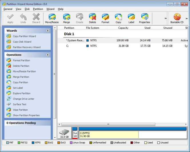 Partition Wizard Home Edition Screenshot