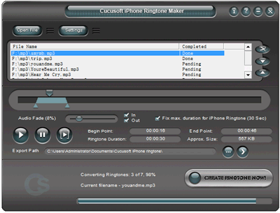 Cucusoft iPhone Ringtone Maker Screenshot