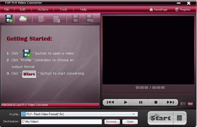 TOP FLV Video Converter Screenshot 1