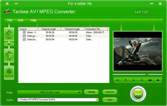 Tanbee Video to AVI MPEG Converter Screenshot