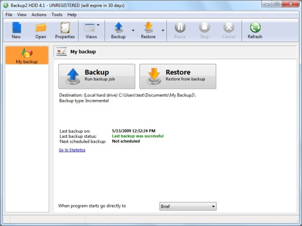 Backup to HDD Screenshot