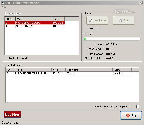 DRE Hard Disk Imager Screenshot 2