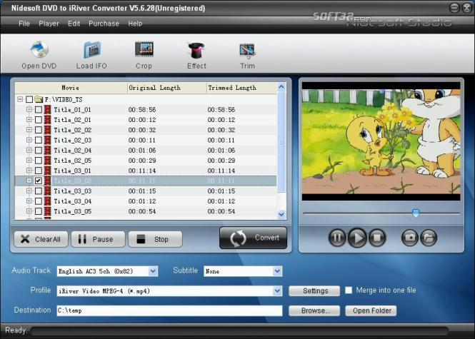 Nidesoft DVD to iRiver Converter Screenshot 2