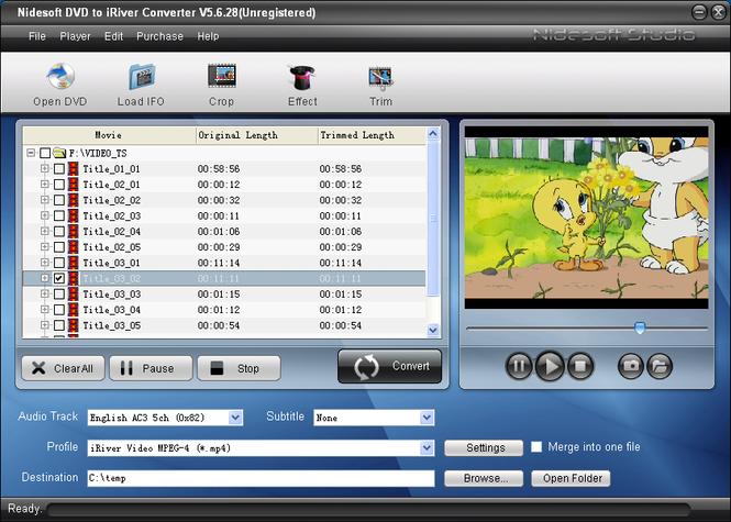 Nidesoft DVD to iRiver Converter Screenshot 1