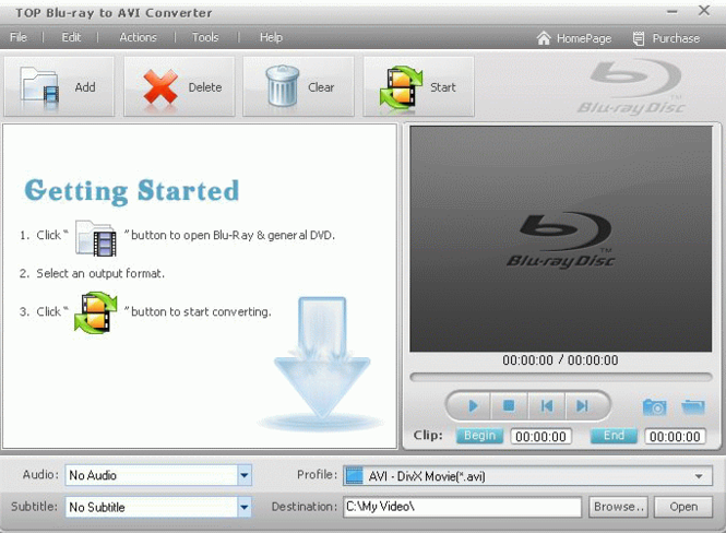 TOP Blu-ray to AVI Converter Screenshot