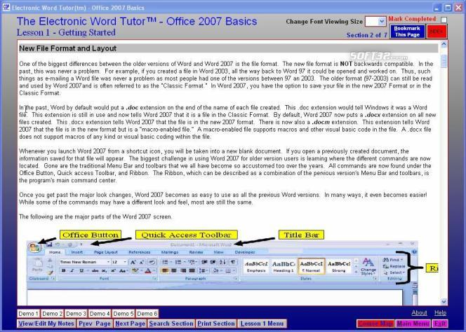 Electronic Word 2007 Tutor Screenshot 2