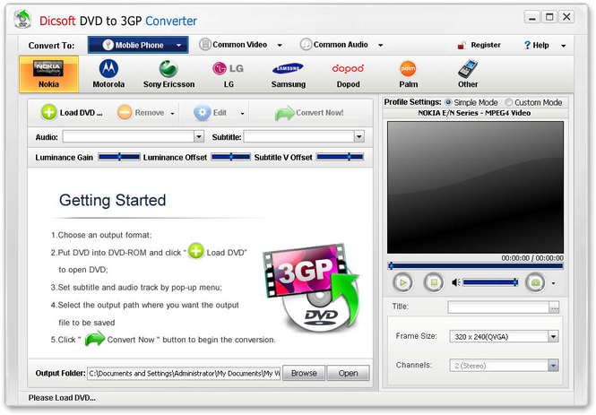 Dicsoft DVD to 3GP Converter Screenshot