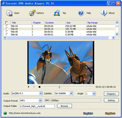 Torrent DVD Audio Ripper Screenshot 1