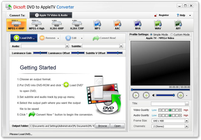 Dicsoft DVD to Apple TV Converter Screenshot
