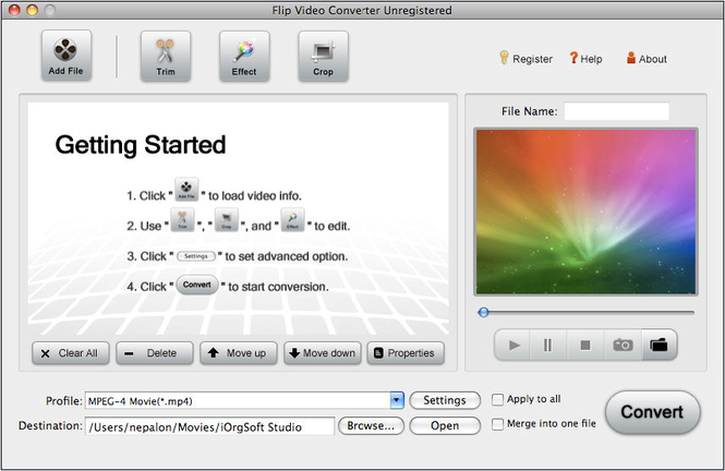 Flip Video Converter for Mac Screenshot