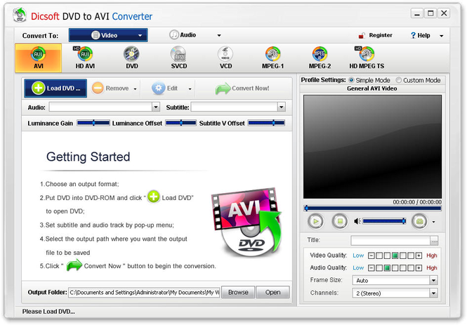 Dicsoft DVD to AVI Converter Screenshot