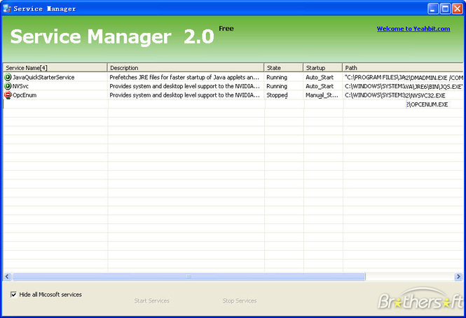 Service Manager Screenshot