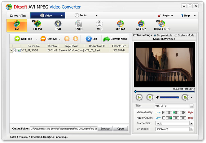Dicsoft AVI MPEG Converter Screenshot 1