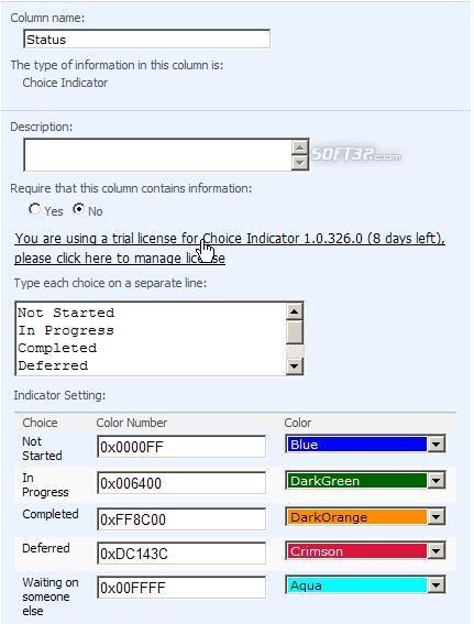 SharePoint Choice Indicator Screenshot 2