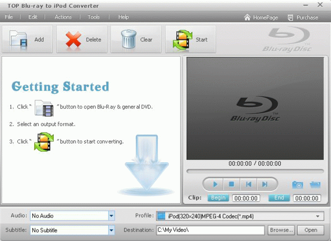 TOP Blu-ray to iPod Converter Screenshot