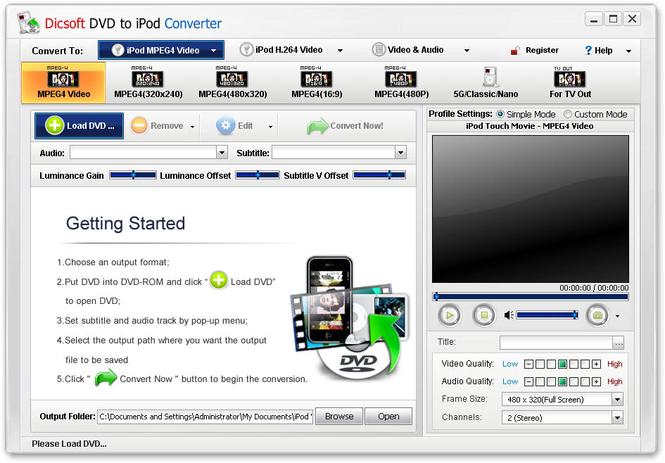Dicsoft DVD to iPod Converter Screenshot 1