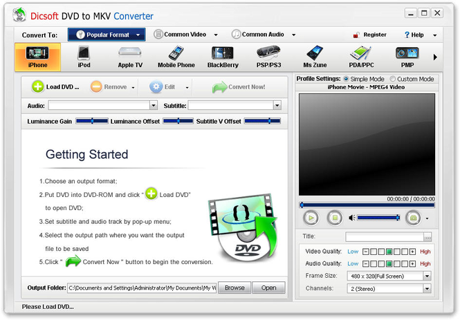Dicsoft DVD to MKV Converter Screenshot 1