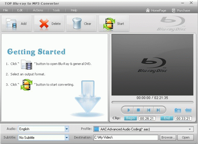 TOP Blu-ray to MP3 Converter Screenshot
