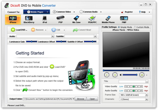 Dicsoft DVD to Mobile Converter Screenshot