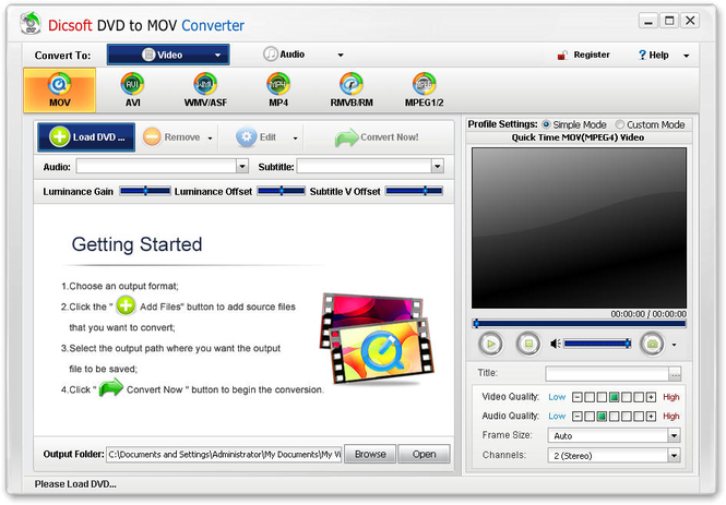 Dicsoft DVD to MOV Converter Screenshot 1