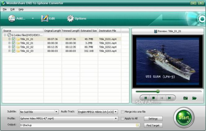 Wondershare DVD to Gphone Converter Screenshot