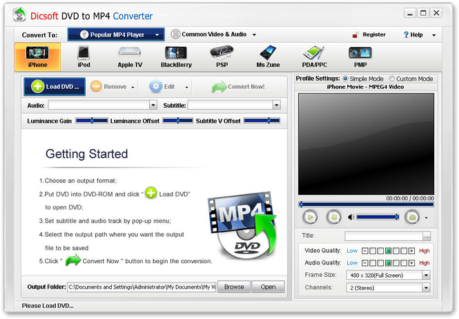 Dicsoft DVD to MP4 Converter Screenshot 1