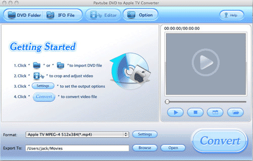Pavtube DVD to Apple TV Converter for Mac Screenshot