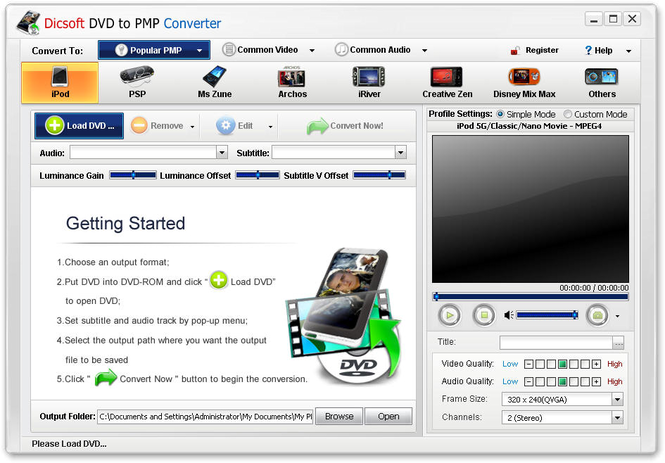 Dicsoft DVD to PMP Converter Screenshot