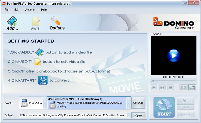Domino FLV Video Converter Screenshot
