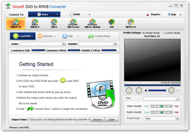 Dicsoft DVD to RMVB Converter Screenshot