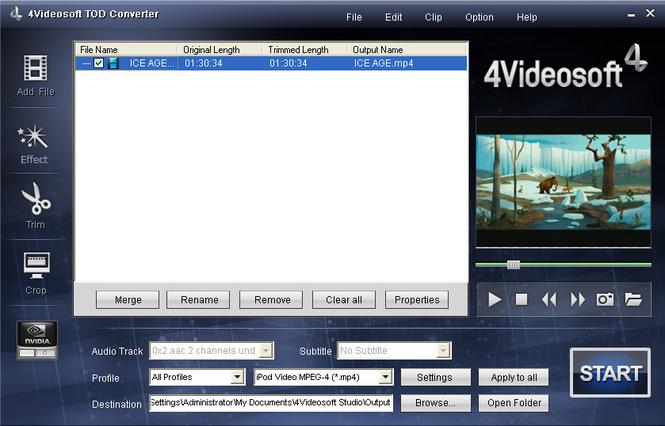 4Videosoft TOD Converter Screenshot
