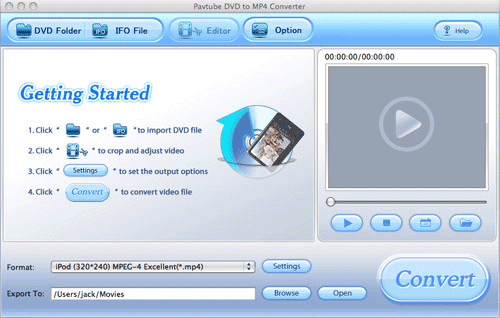 Pavtube DVD to MP4 Converter for Mac Screenshot