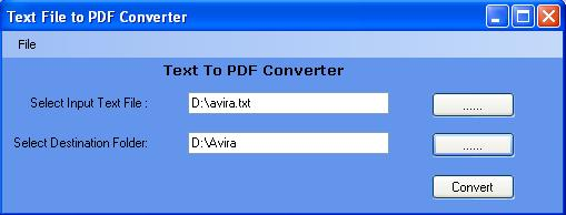 txt to PDF Converter Screenshot