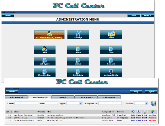 BC Call Center Screenshot