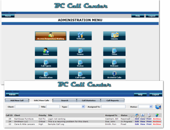 BC Call Center Screenshot 2