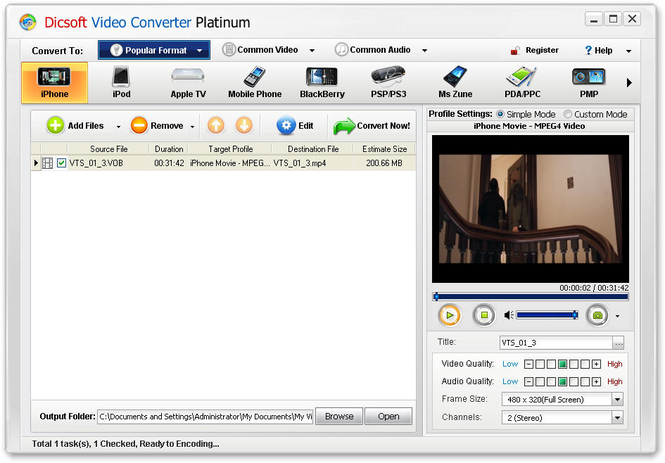 Dicsoft Video Converter Platinum Screenshot 1