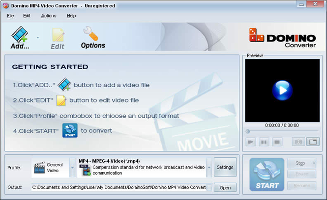 Domino MP4 Video Converter Screenshot