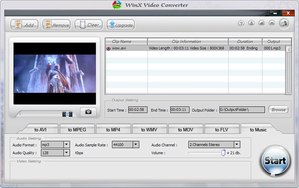 WinX Free Video Converter Screenshot
